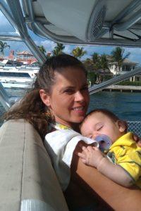 Rosa Linda with baby Samuel on s/v Hakuna Matata